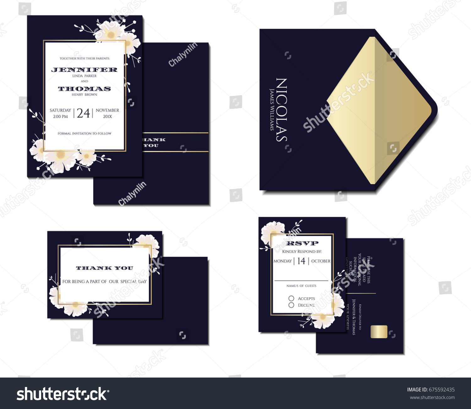 Set navy blue wedding invitation card stock vector 675592435 set of navy blue wedding invitation card decoration with flowers and gold line vector stopboris Images