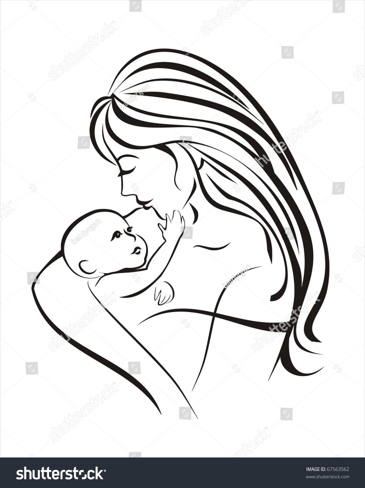 Mother Child Vector Sketch Black Lines Stock Vector ...