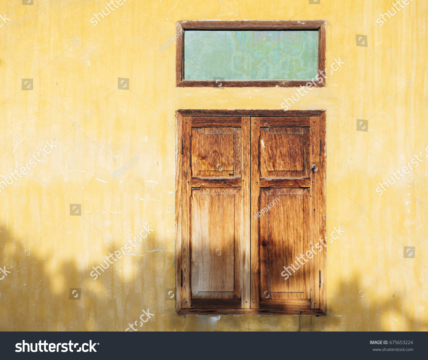 Old Vintage Yellow Wall Old Wood Stock Photo 675653224 - Shutterstock