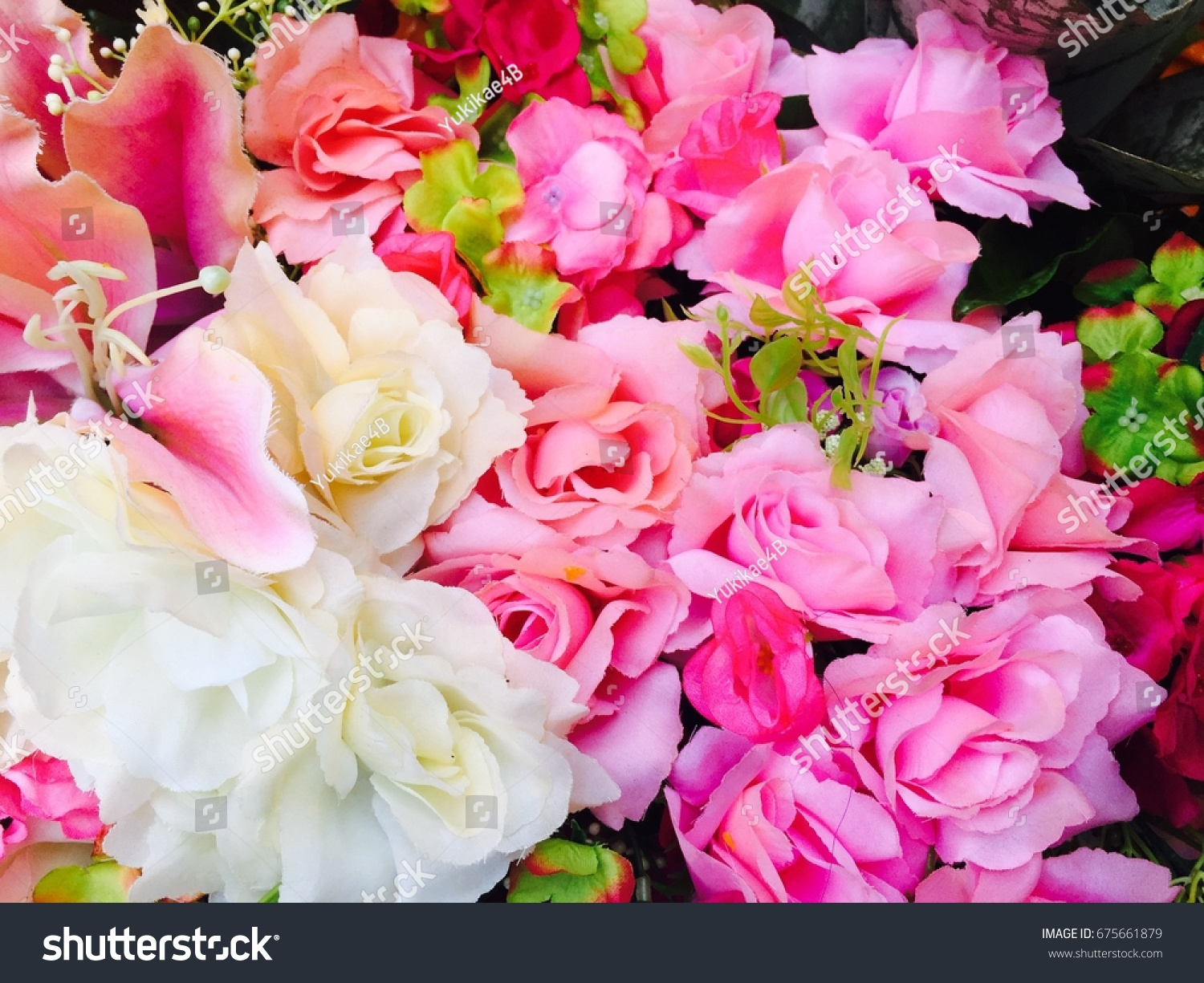 Bunch Of Roses Bouquet Set Of Beautiful Flower Is Blooming Cherry