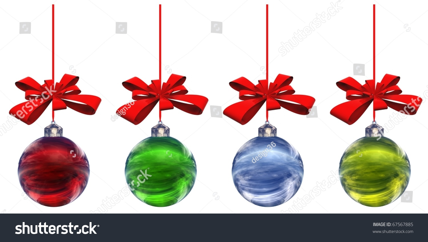 High resolution christmas ornaments isolated stock