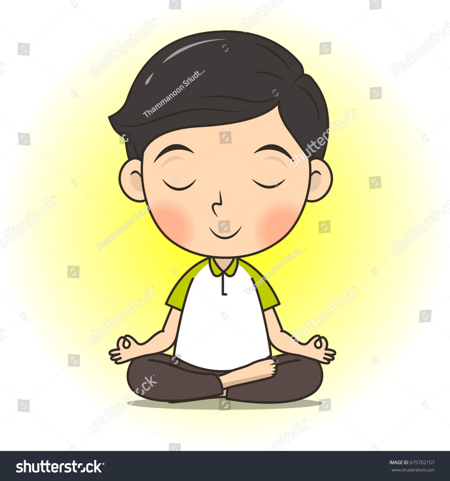 Cute Boy Meditate Yoga Pose Cartoon Stock Vector Royalty Free 675702157