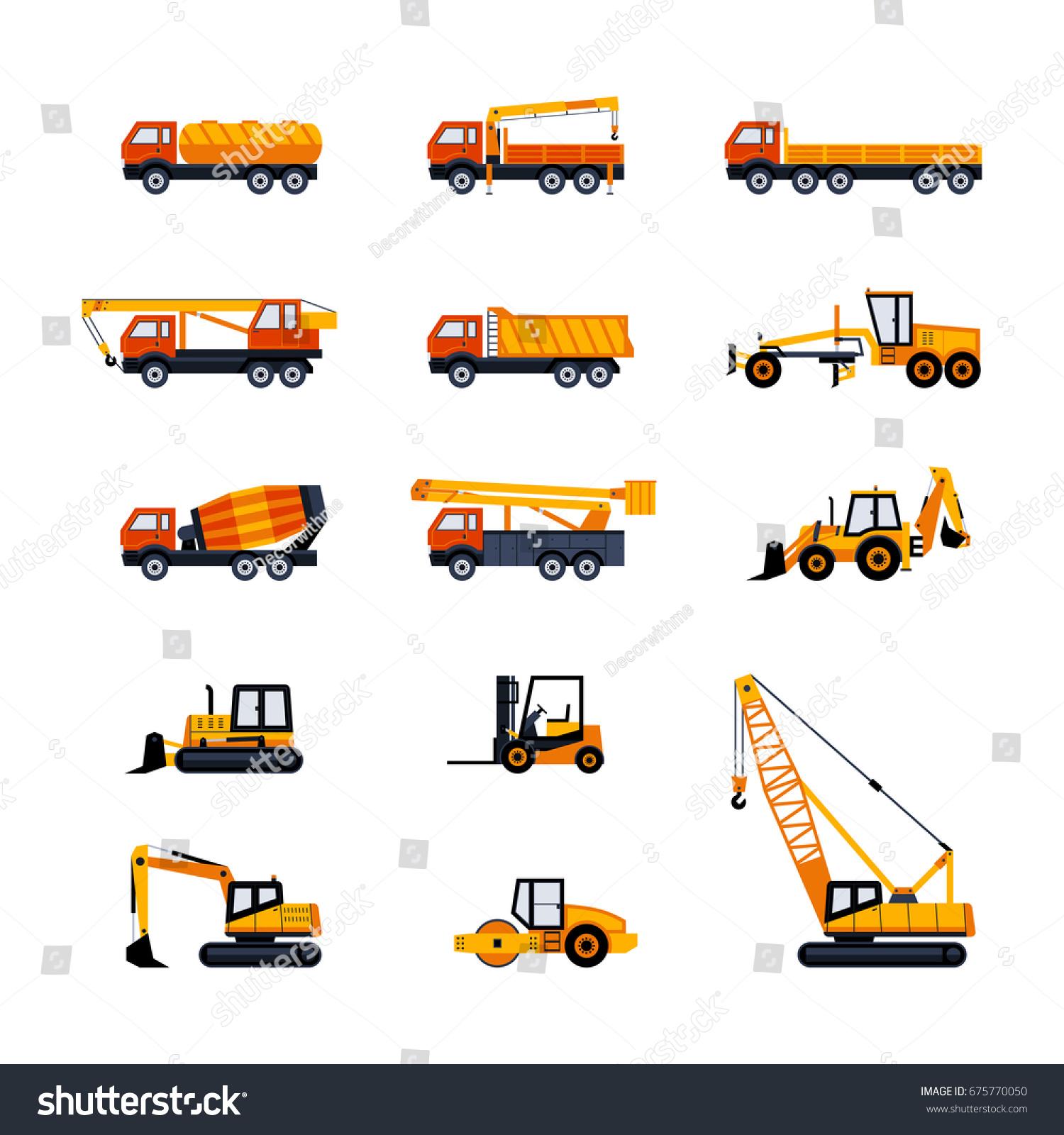 construction vehicles modern vector flat design stock vector