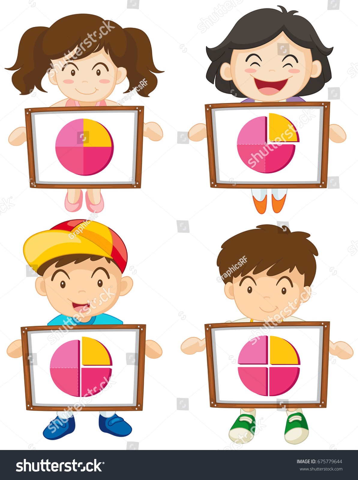 four kids holding sign piecharts illustration stock vector (royalty
