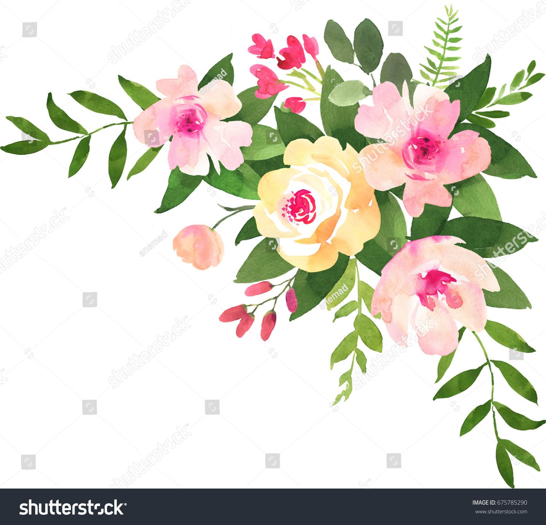 Watercolor Flower Bouquet Wedding Decoration Stock Illustration ...