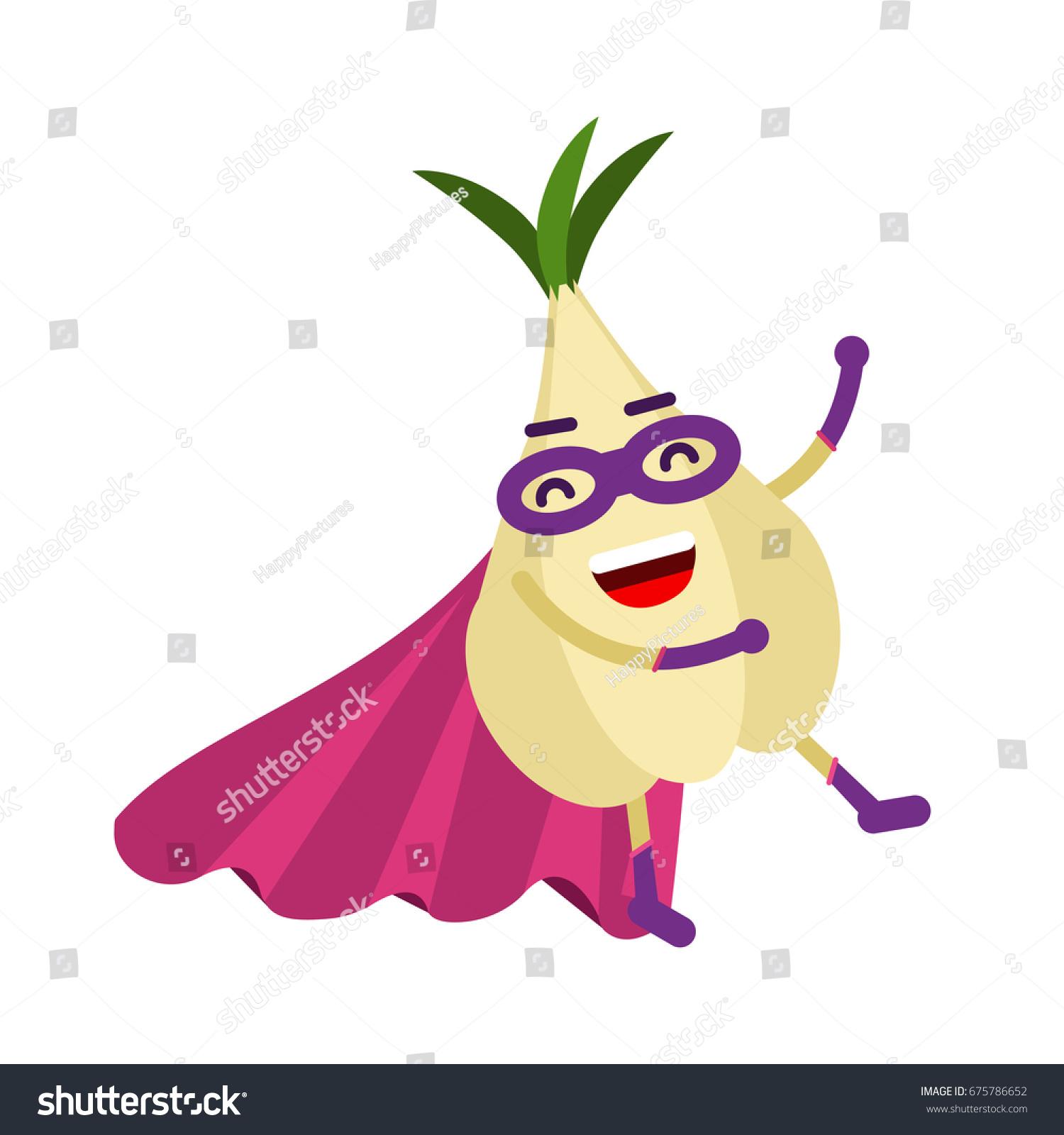 Cute Cartoon Garlic Superhero Mask Cape Stock Vector ...