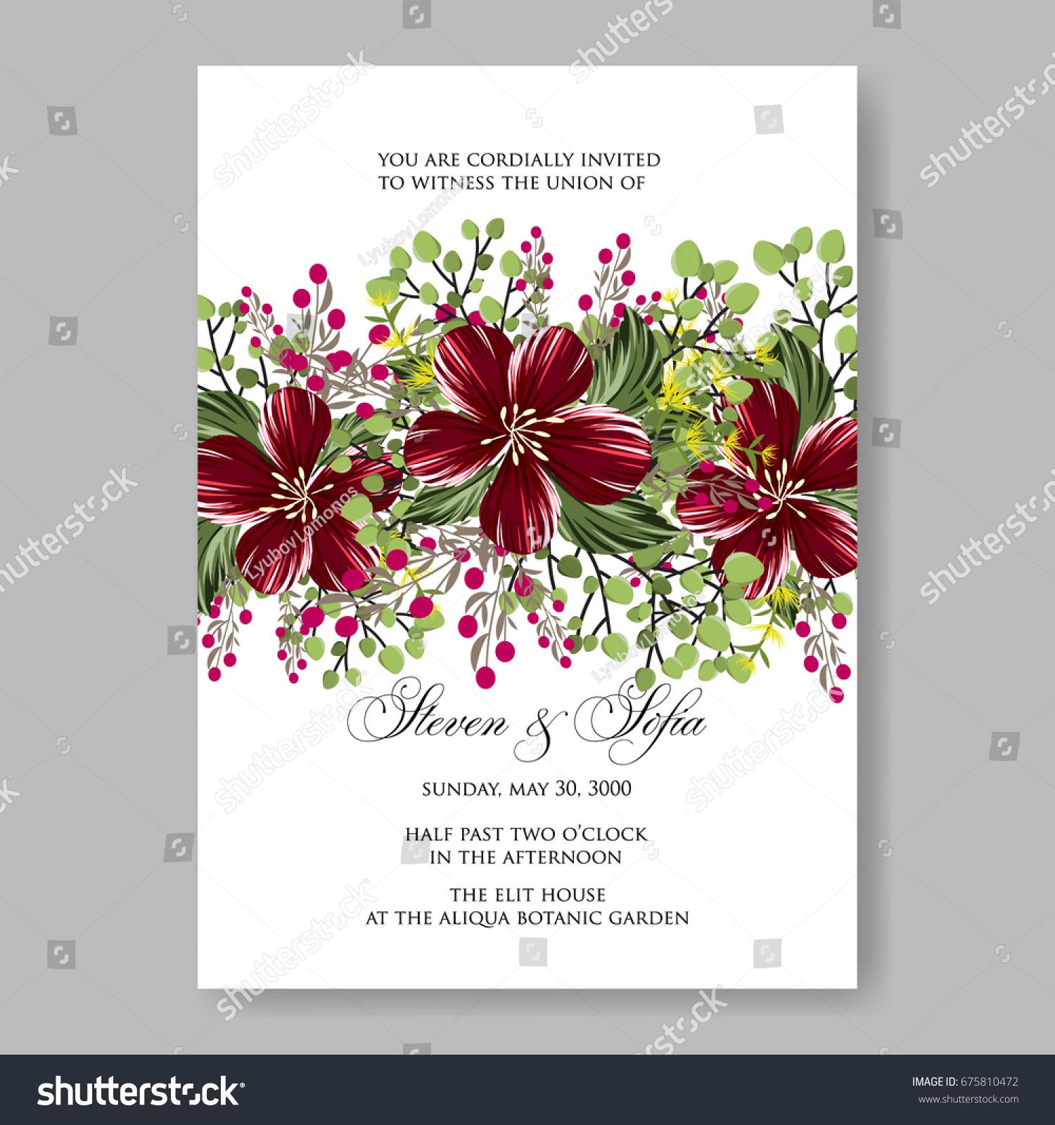 Hibiscus Pionsettia Rose Floral Wedding Invitation Stock Vector ...