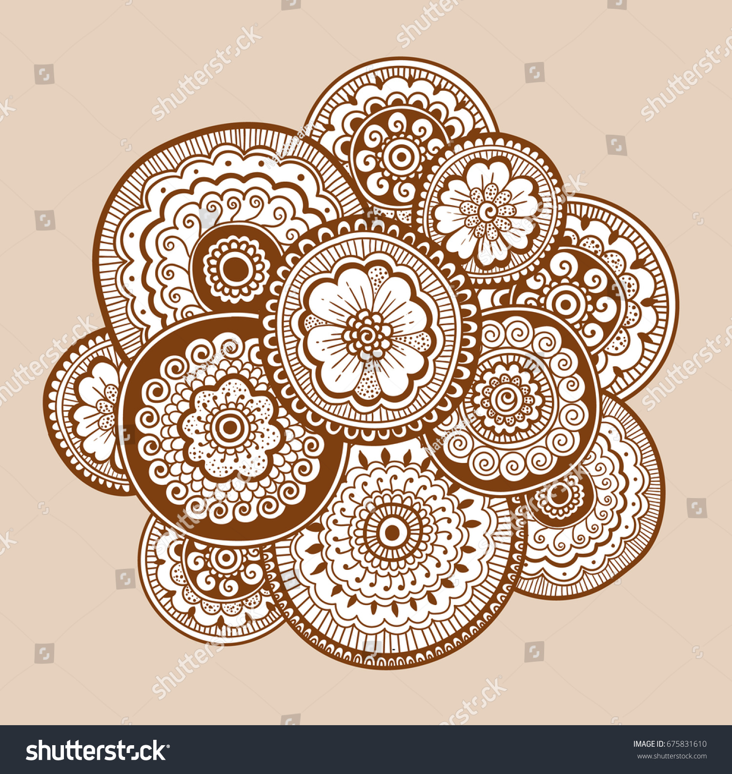ethnic henna mehndi ornament indian style stock vector 675831610