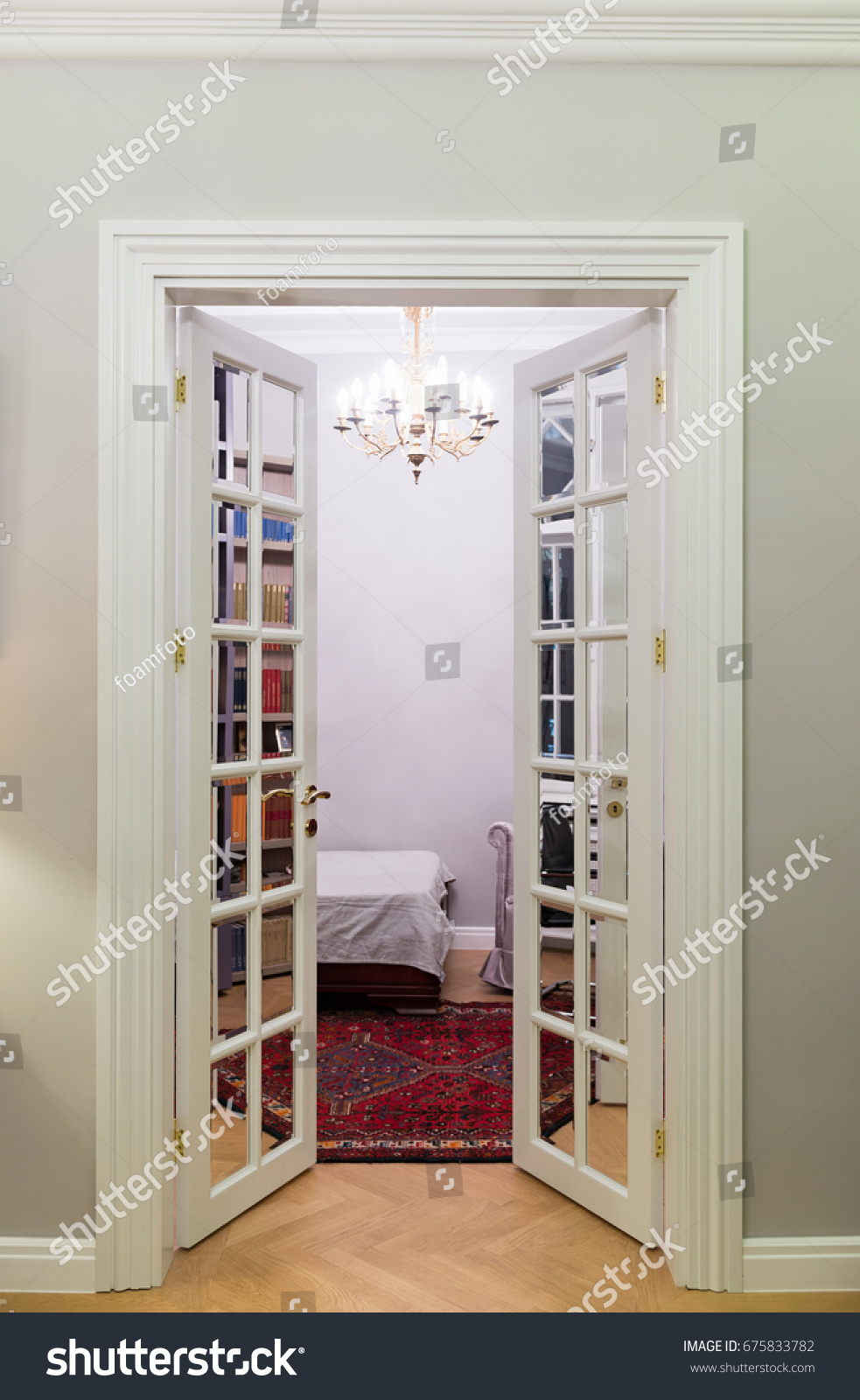 Double Leaf Door Mirrors Living Room Stock Photo (Royalty Free ...