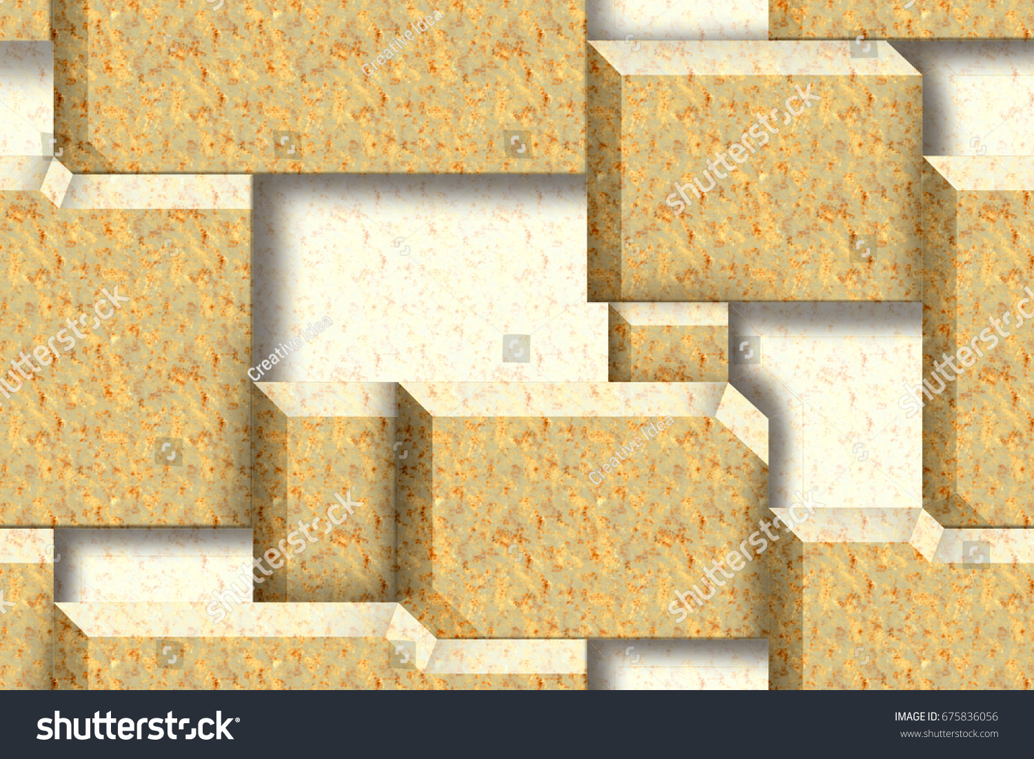 Abstract Home Decorative Wall 3d Marble Stock Illustration 675836056 ...