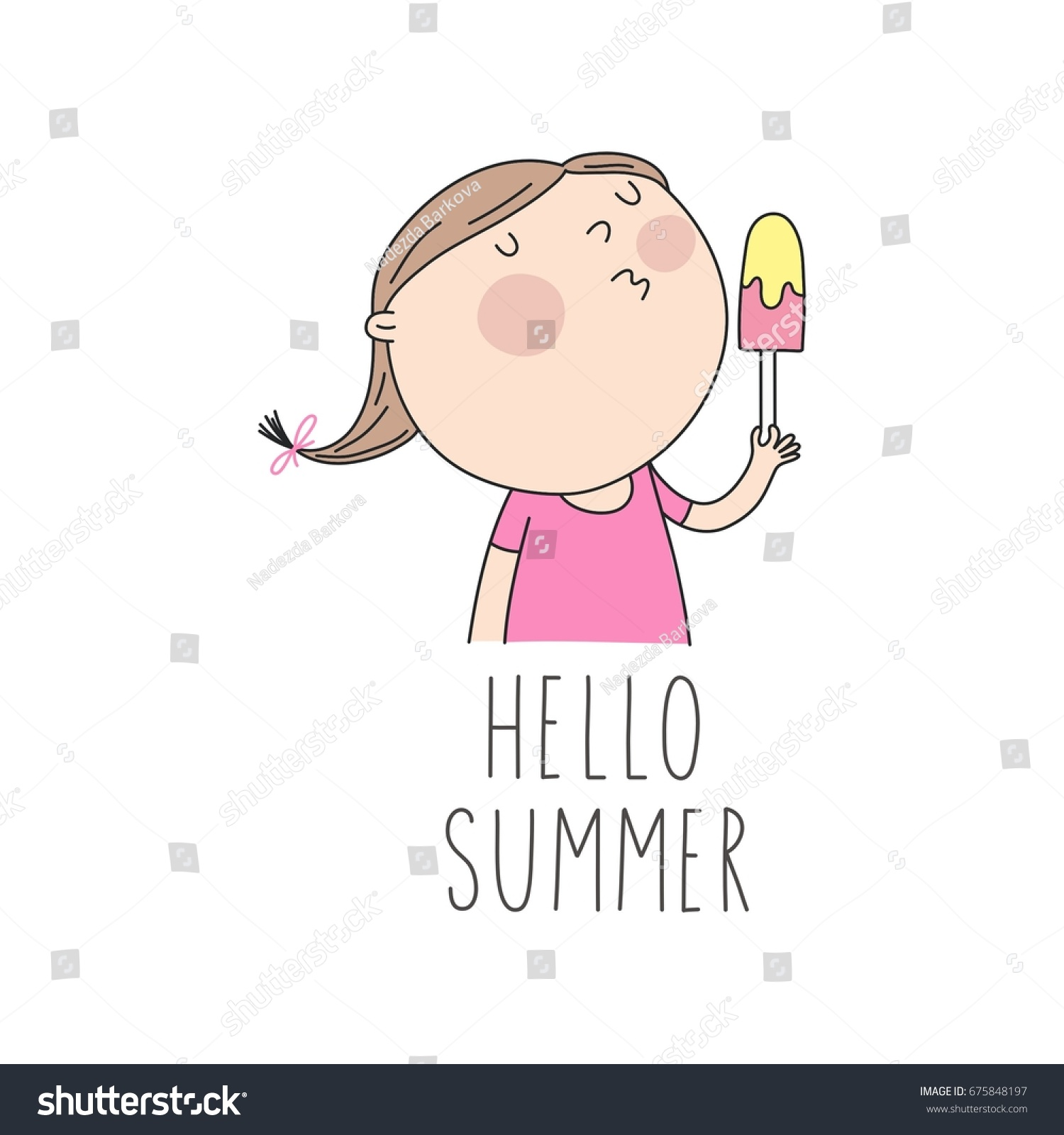 Superbe Hello Summer. Cool Card With Cute Girl