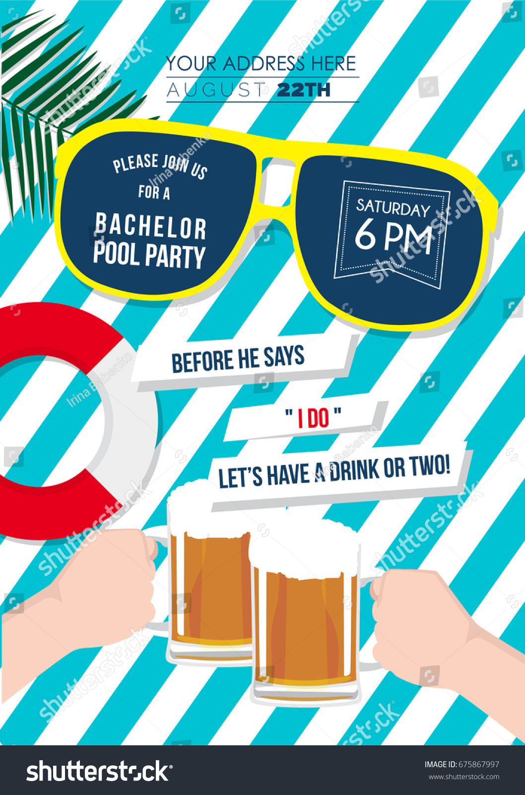 Bachelor Swimming Pool Party Invitation Card Stock Vector