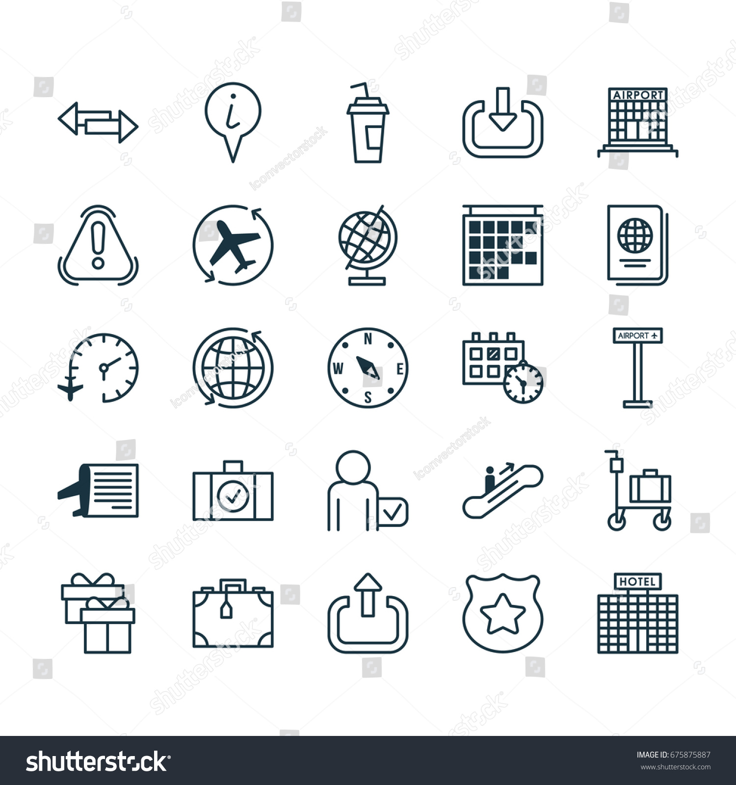 Transportation Icons Set Collection World Cop Stock Vector Royalty