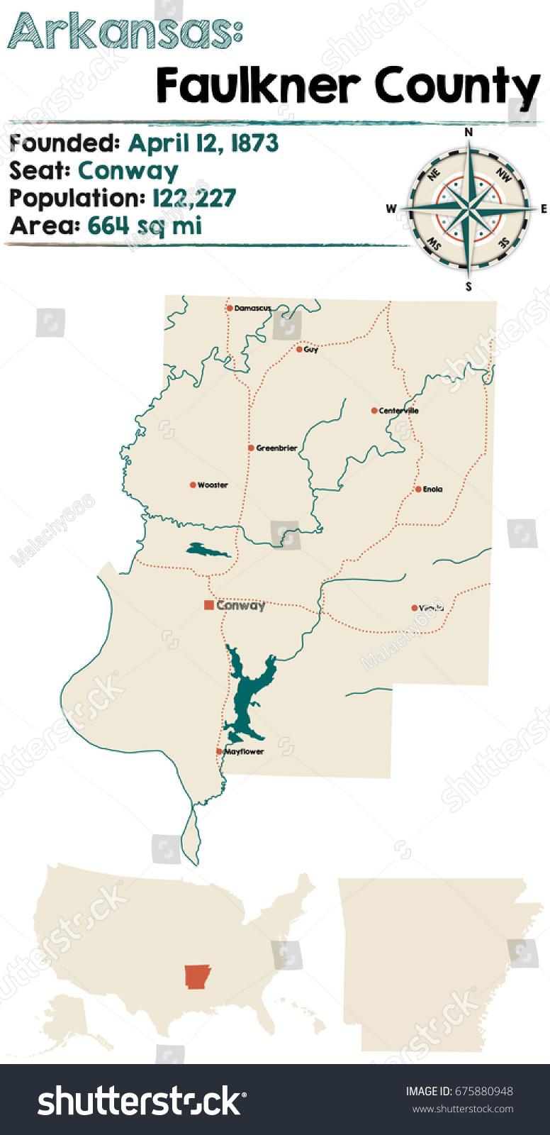 map of faulkner county arkansas Large Detailed Map Faulkner County Arkansas Stock Vector Royalty map of faulkner county arkansas