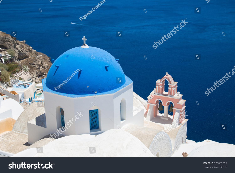 Dome of the Orthodox Church in town Oia. The island Santorini in Creece