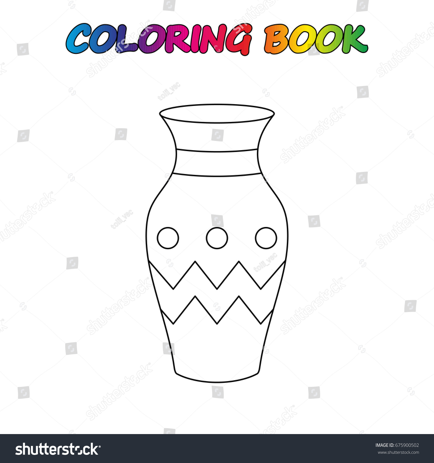 Vase Coloring Book Game Kids Vector Stock 675900502