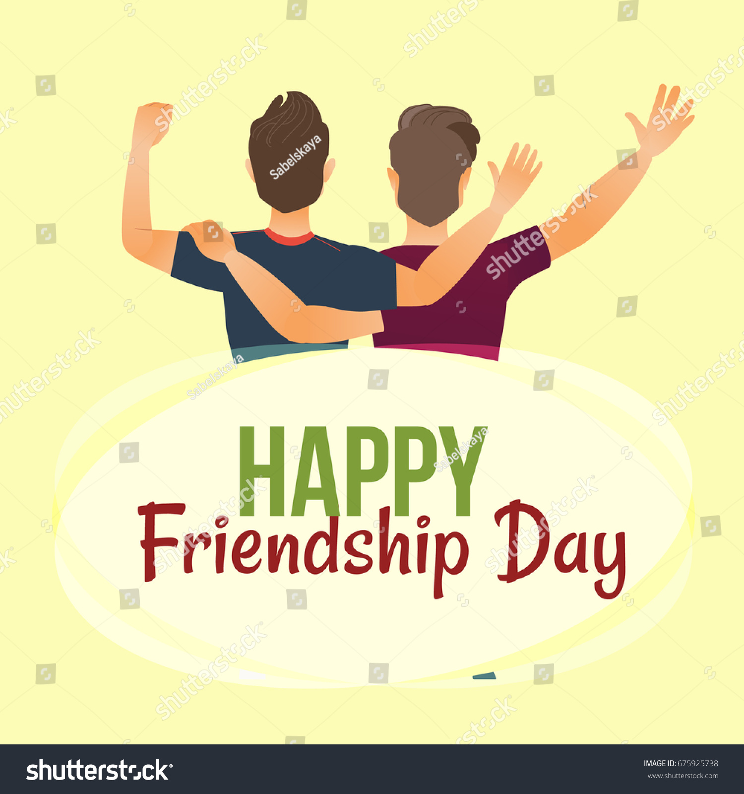 Happy Friendship Day Greeting Card Back Stock Vector Royalty Free
