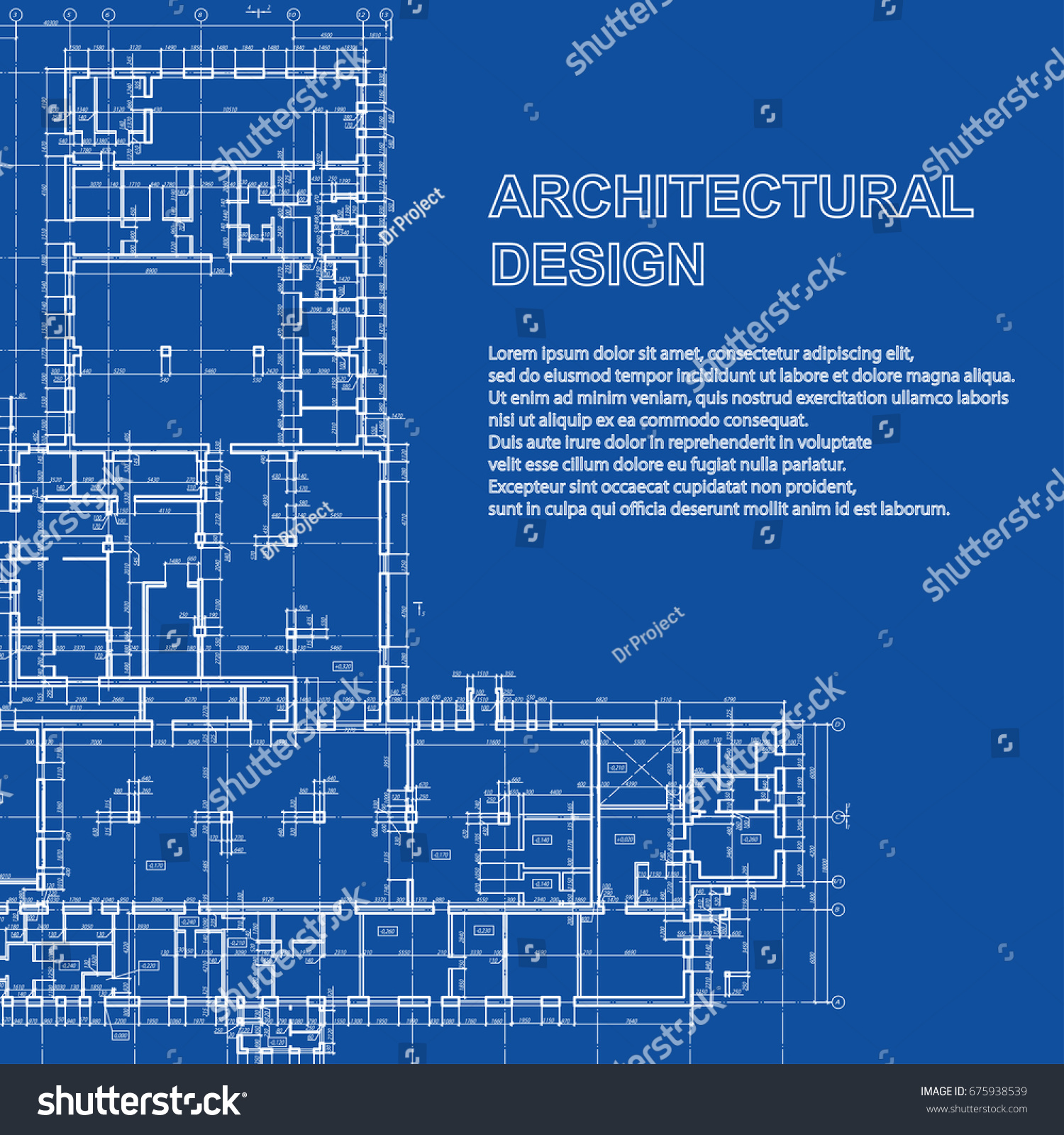 Stylish detailed architectural plan vector building stock vector stylish detailed architectural plan vector building blueprint modern abstract background malvernweather Gallery