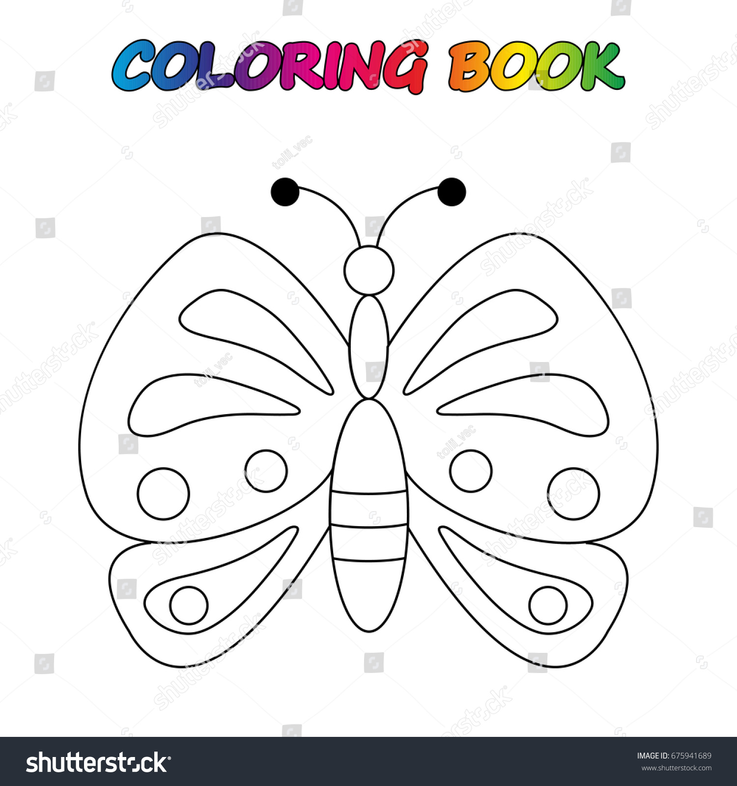 butterfly coloring book game kids vector stock vector 675941689