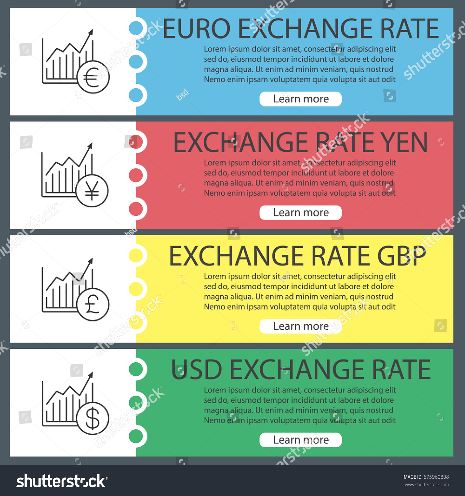 Currencies exchange rates web banner templates stock vector currencies exchange rates web banner templates set market growth charts with us dollar pound nvjuhfo Gallery