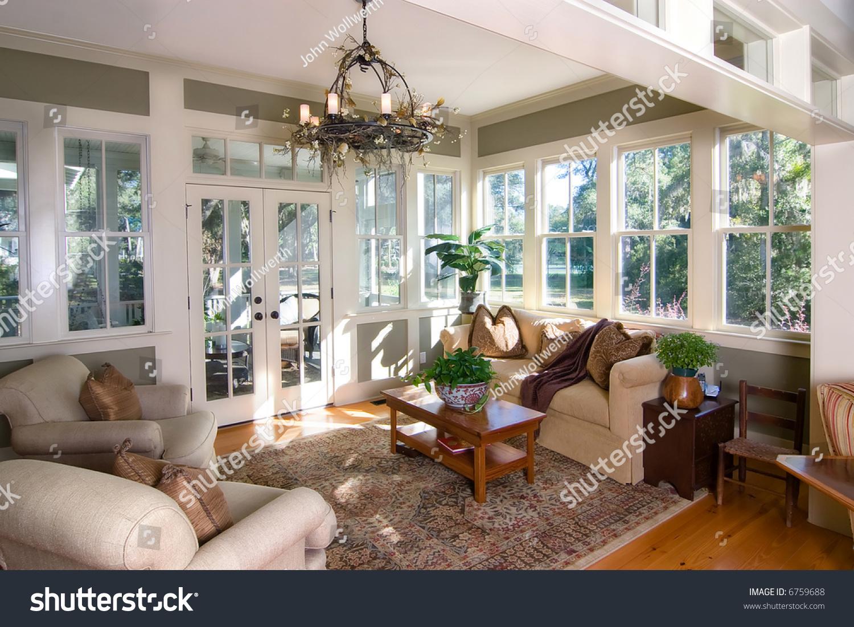 Furnished Sunroom Large Windows Glass Doors Stock Photo