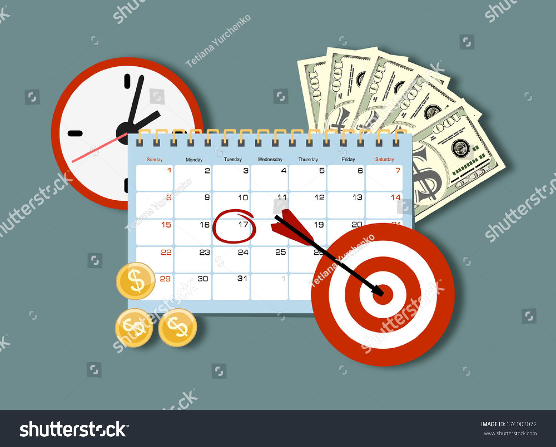 Calendar Planner Target : Clock calendar target money time management stock vector royalty