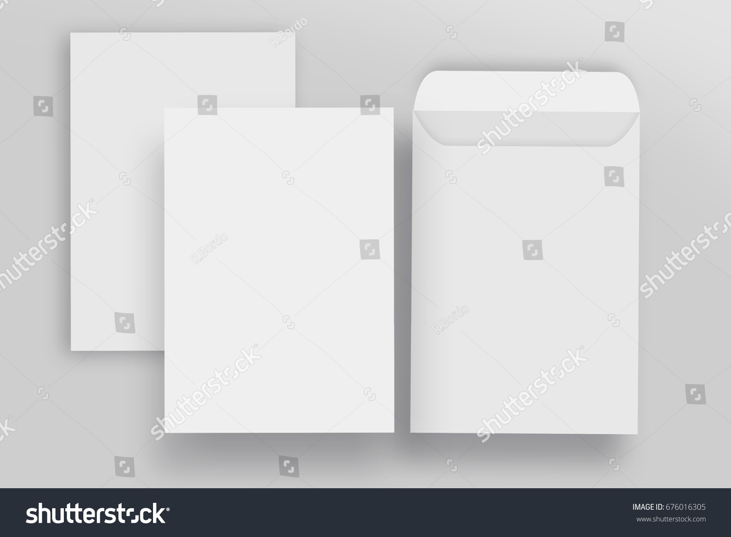 Blank envelope C4 mock up and Blank letterhead presentation template, isolated background