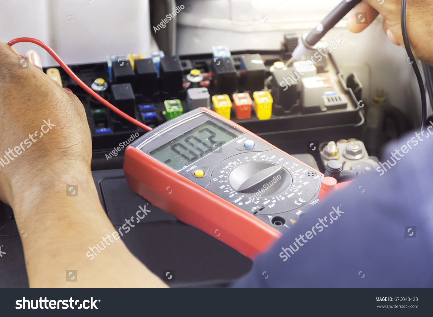 Auto Mechanic Uses Multimeter Voltmeter Check Stock Photo Edit Now