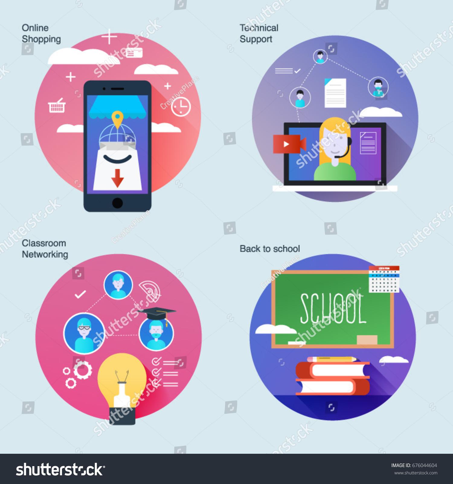 Classroom Network Design ~ Set material design concepts icons classroom stock vector