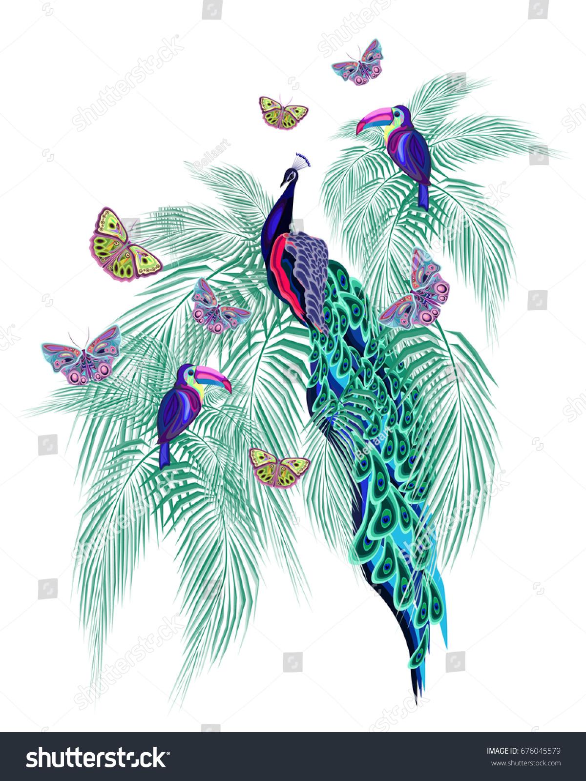 Unusual Azure Tropical Print Exotic Birds Stock Illustration ...