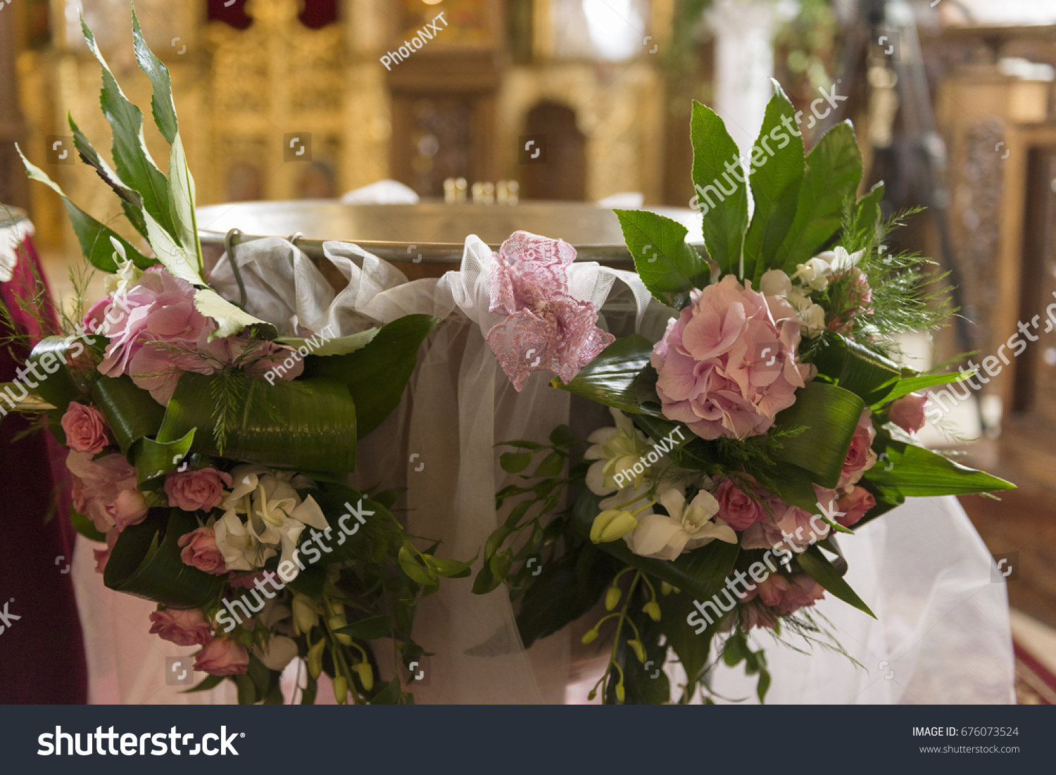 Gorgeous Bouquet Flowers Christening Ceremony Stock Photo (Royalty ...