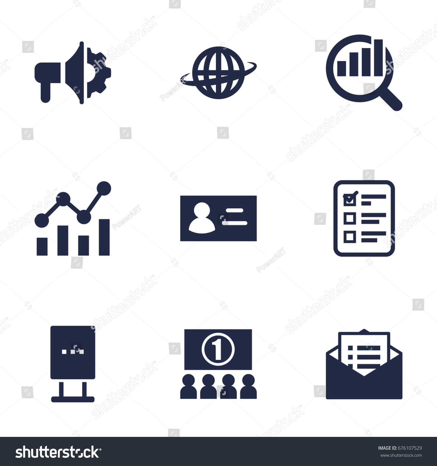 Set Of 9 Commercial Icons Set.Collection Of Market, Statistics, Auditorium And Other Elements.