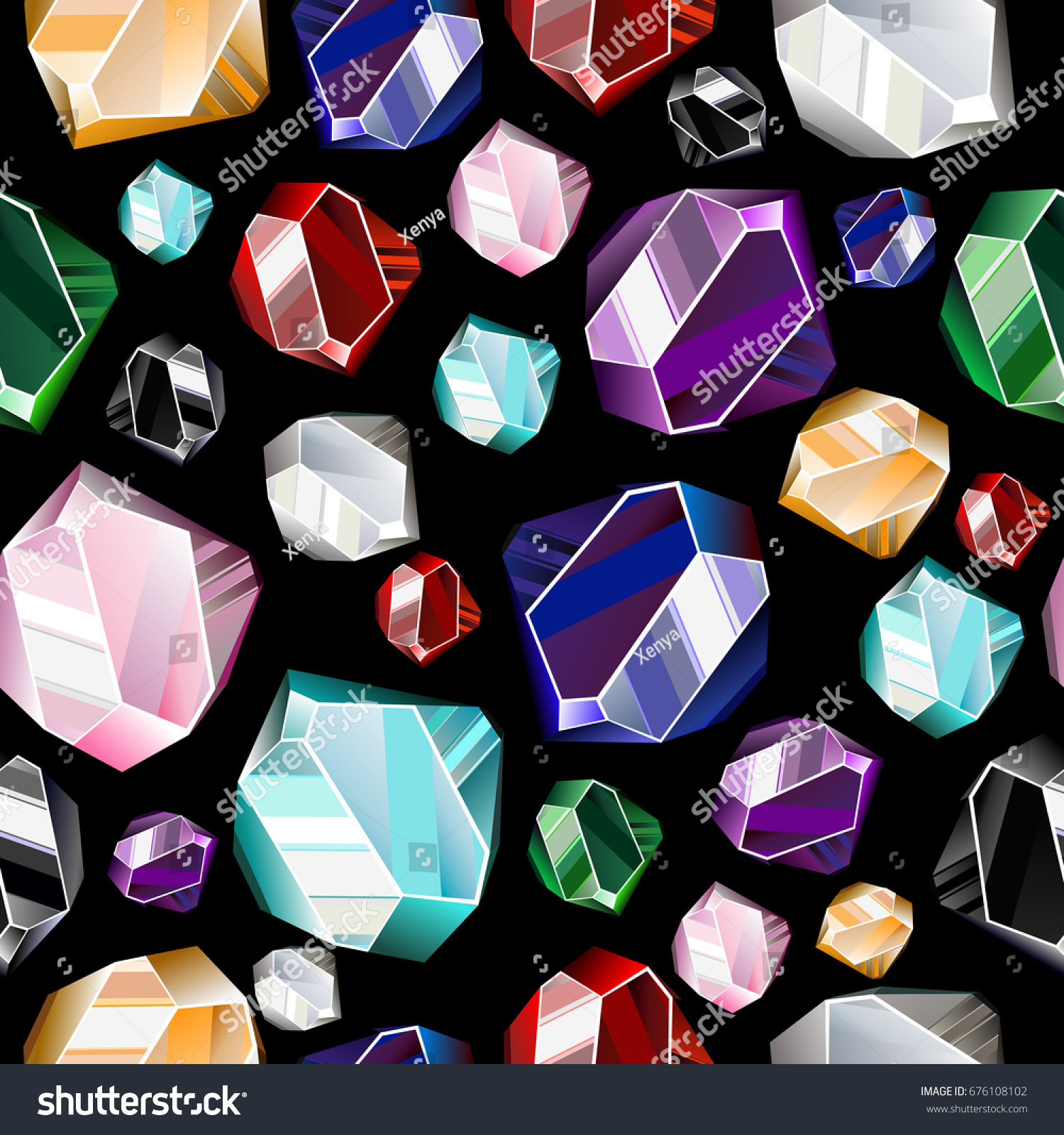 Seamless Background Colorful Precious Stones Gemscrystals Stock ...