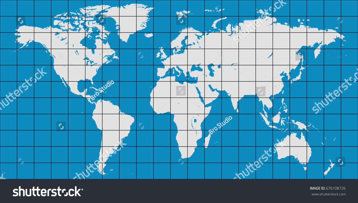 World map coordinate grid meridian parallel vector de stock676108726 world map with coordinate grid and meridian and parallel vector map of planet earth gumiabroncs Choice Image