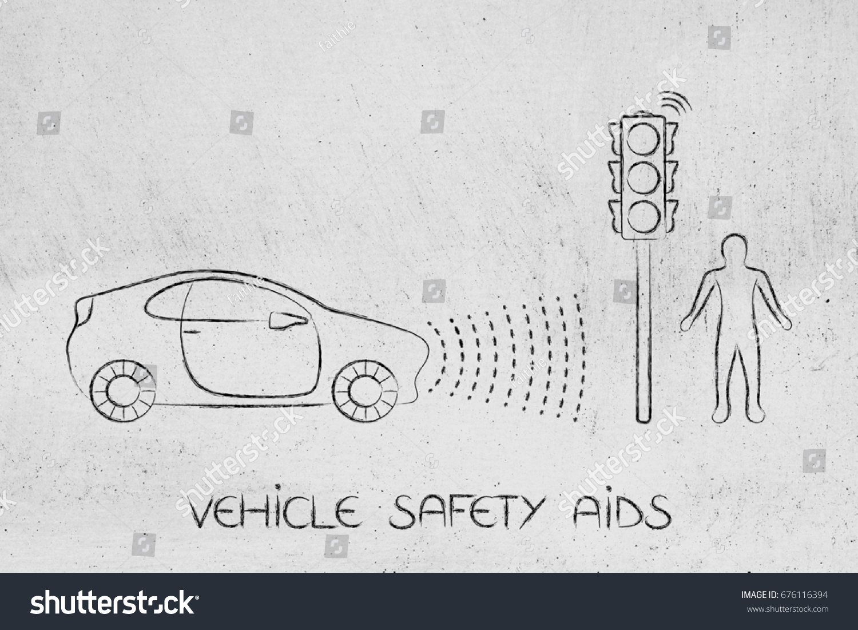Car Proximity Sensor Concept Vehicle Rays Stock Illustration ...
