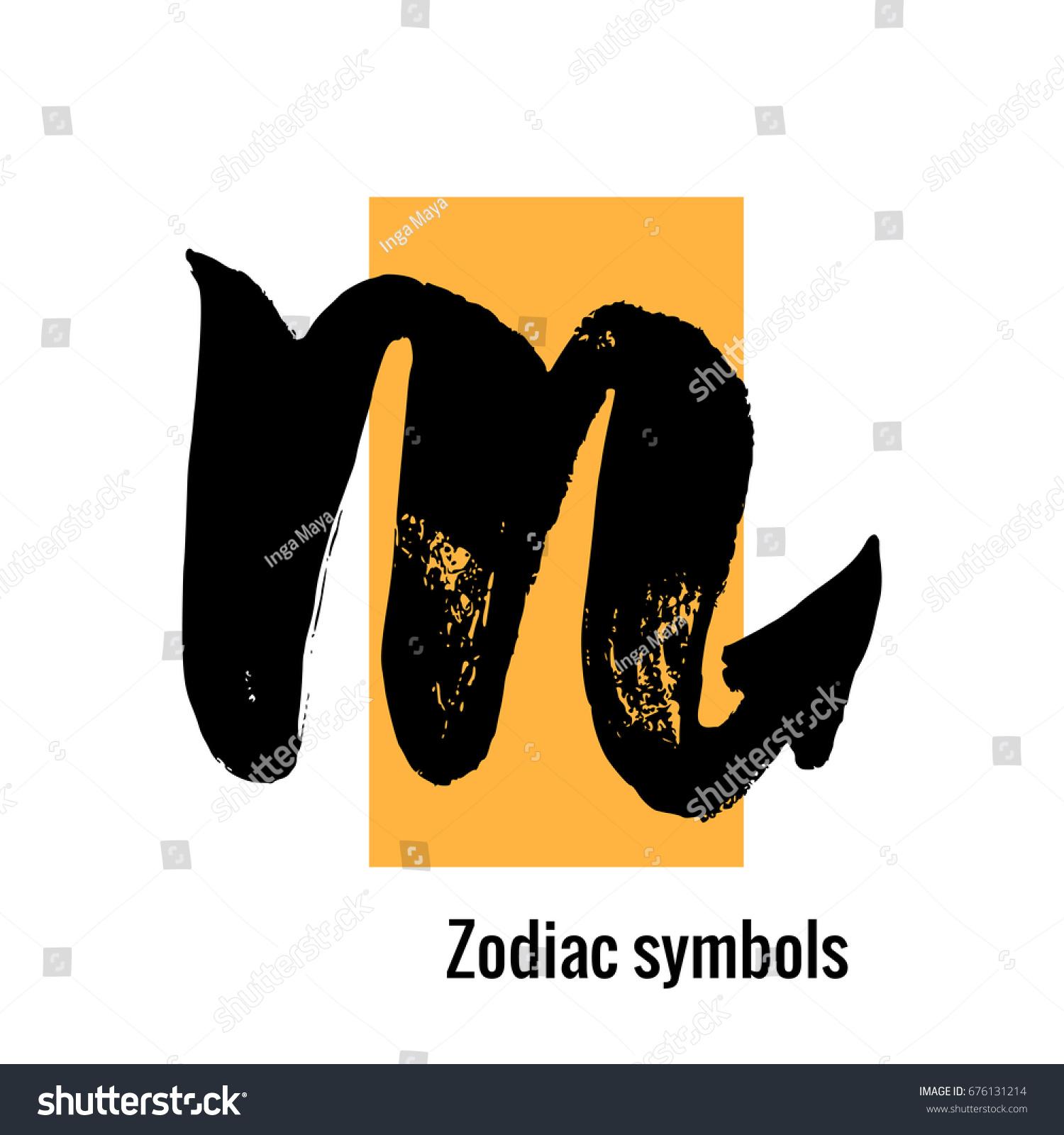 Signs Zodiac Scorpio Symbol Hand Draw Stock Vector Royalty Free