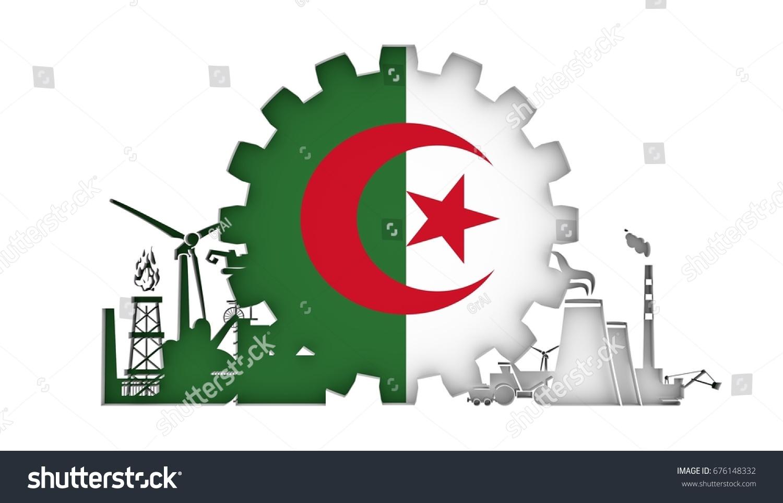 Energy Power Icons Set Flag Algeria Stock Illustration