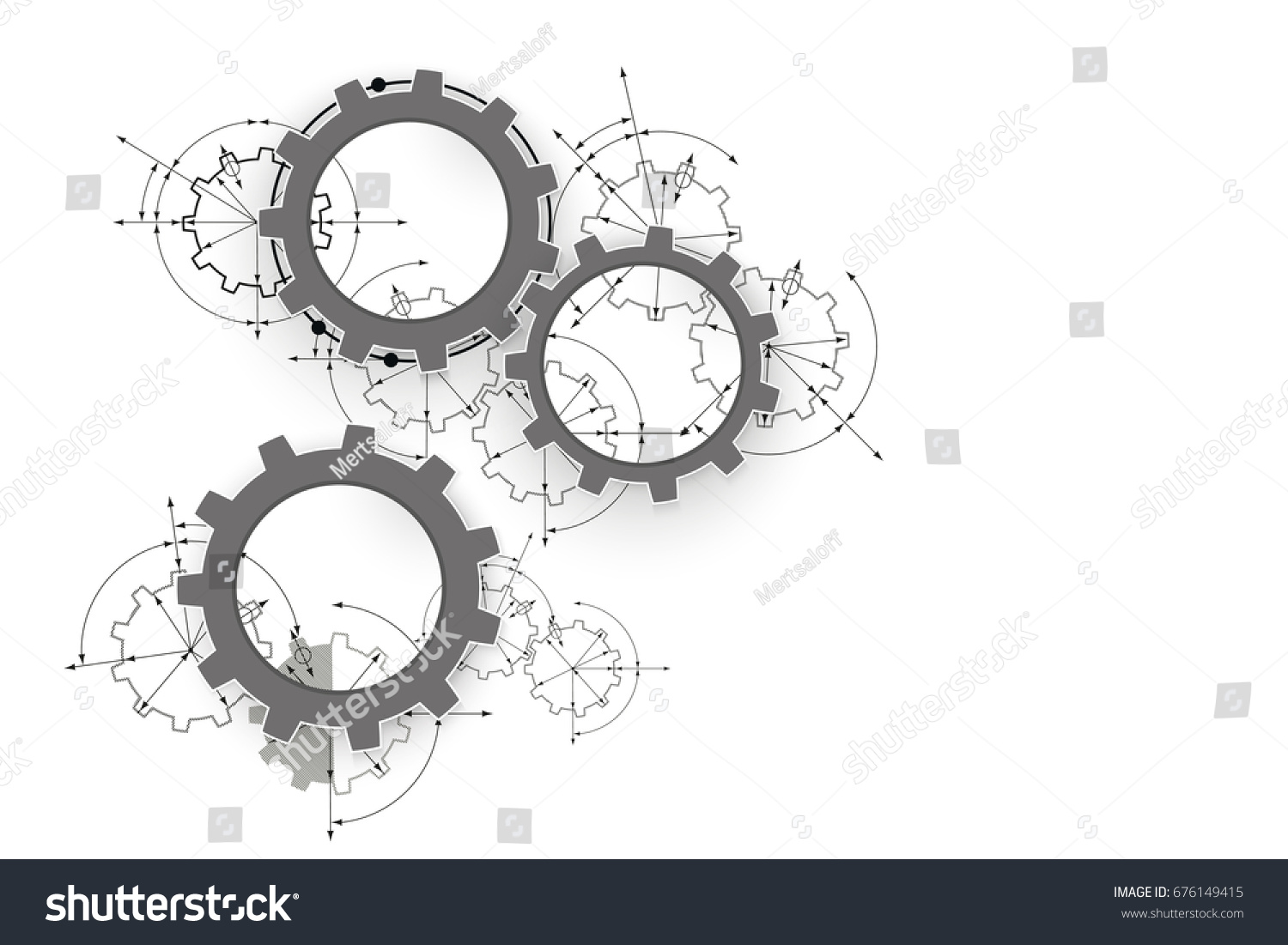 Engineering drawing abstract industrial background with a cogwheels