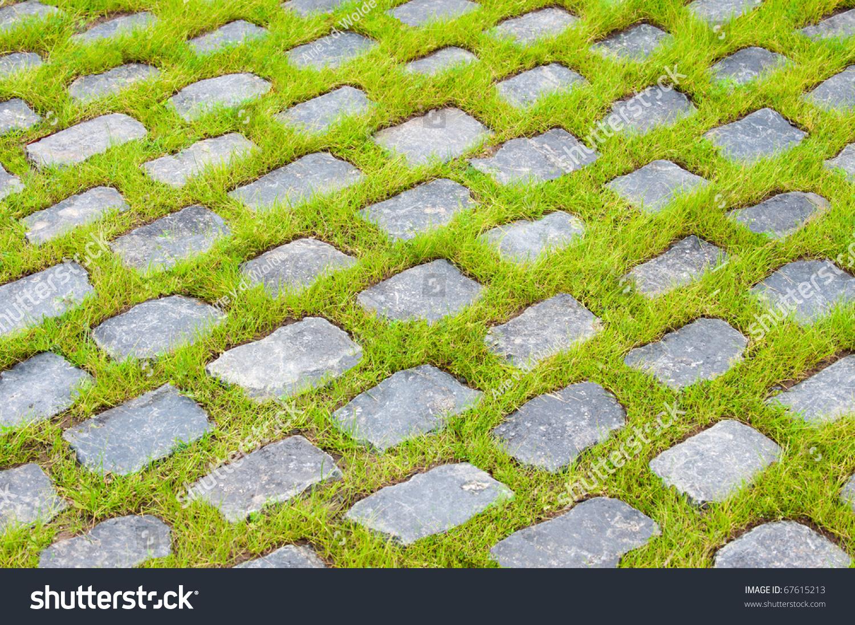 Background Street Stones Between Grass Stock Photo ...