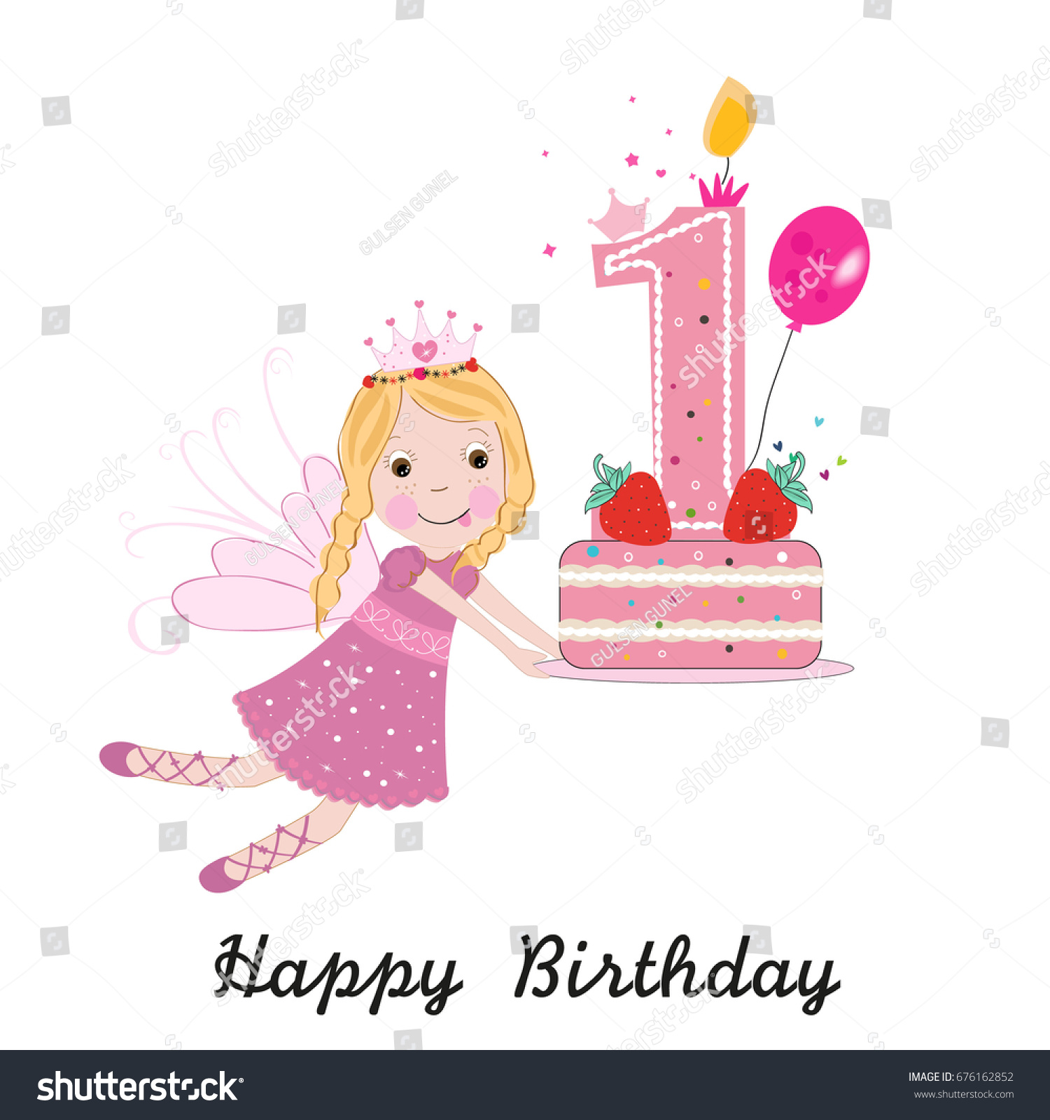First birthday greeting card cute fairy stock vector royalty free first birthday greeting card cute fairy holding cake m4hsunfo