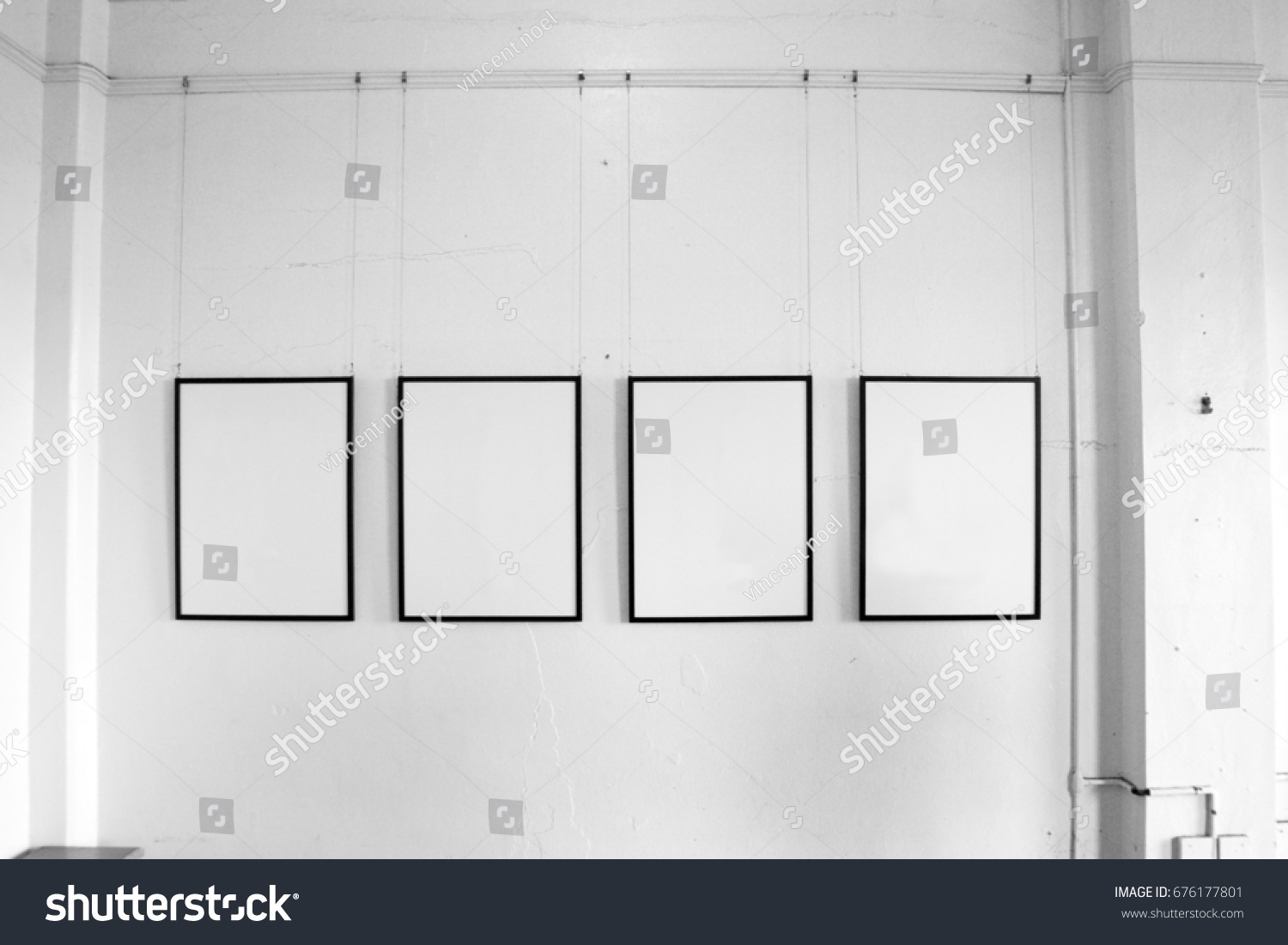 Four Vintage Empty Picture Frames Hanging Stock Photo (Edit Now ...