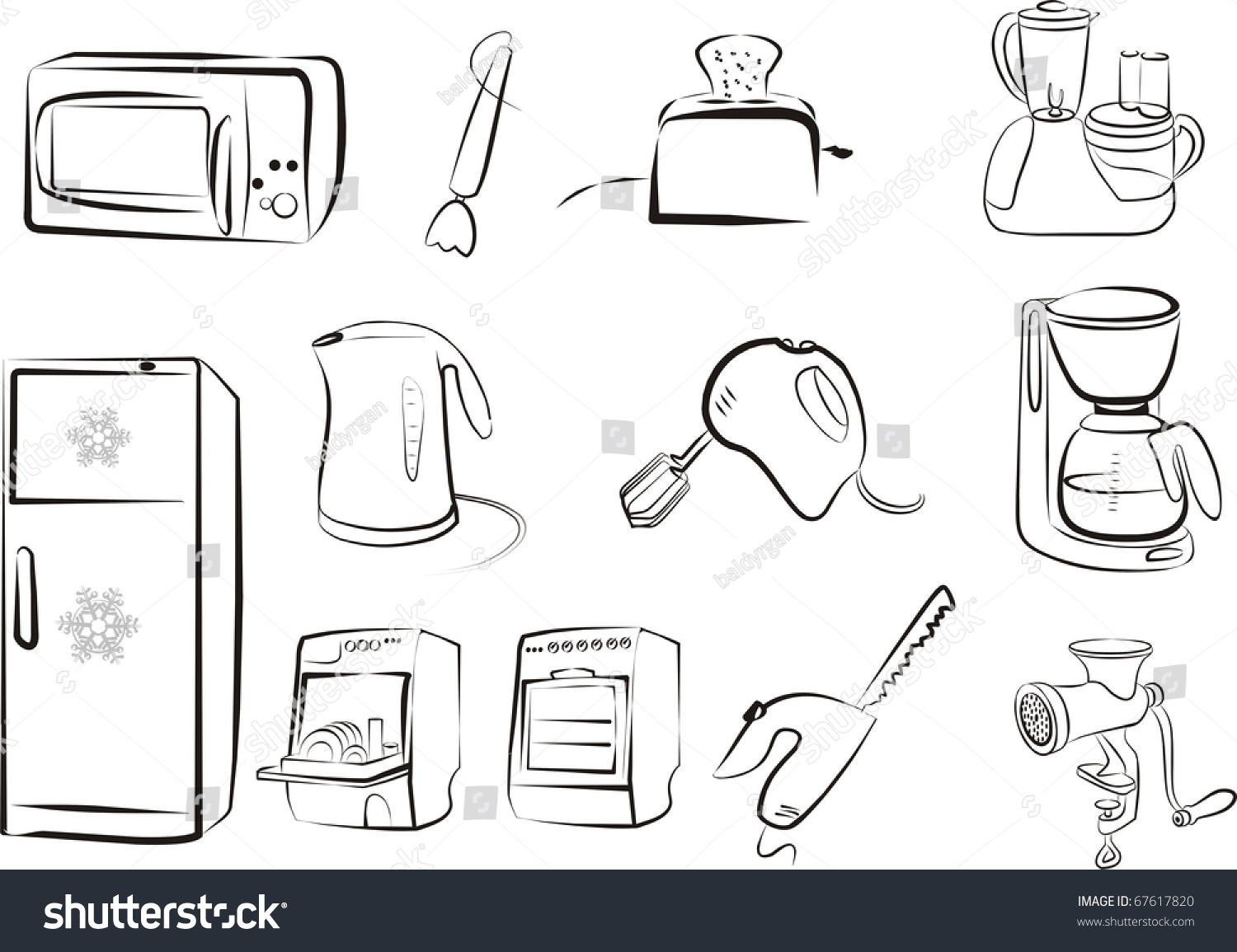Electric Mixer Outline ~ Electric kitchen tools and devices set in black outlines