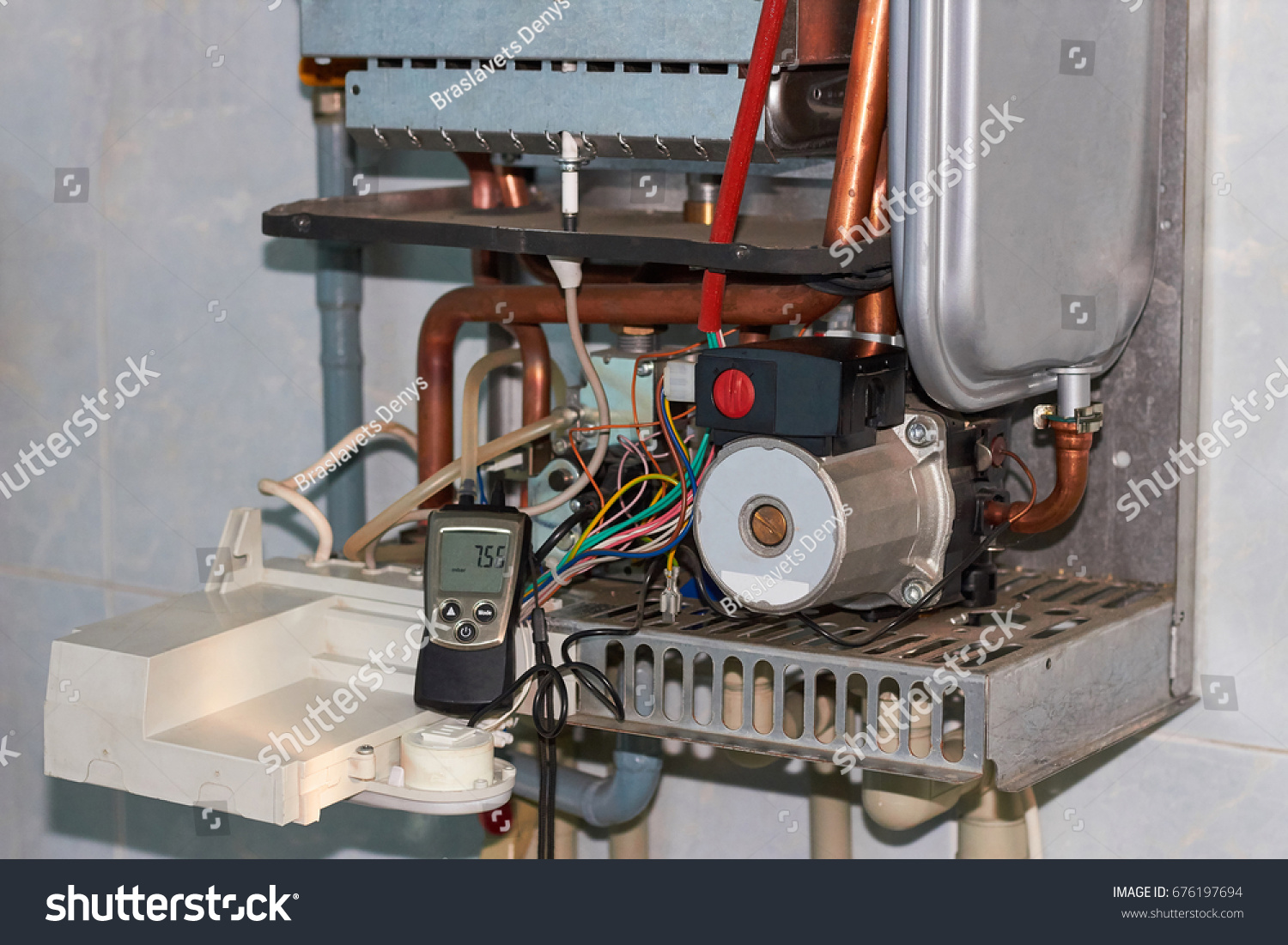 Repair Gas Boiler Setting Servicing By Stock Photo (Royalty Free ...