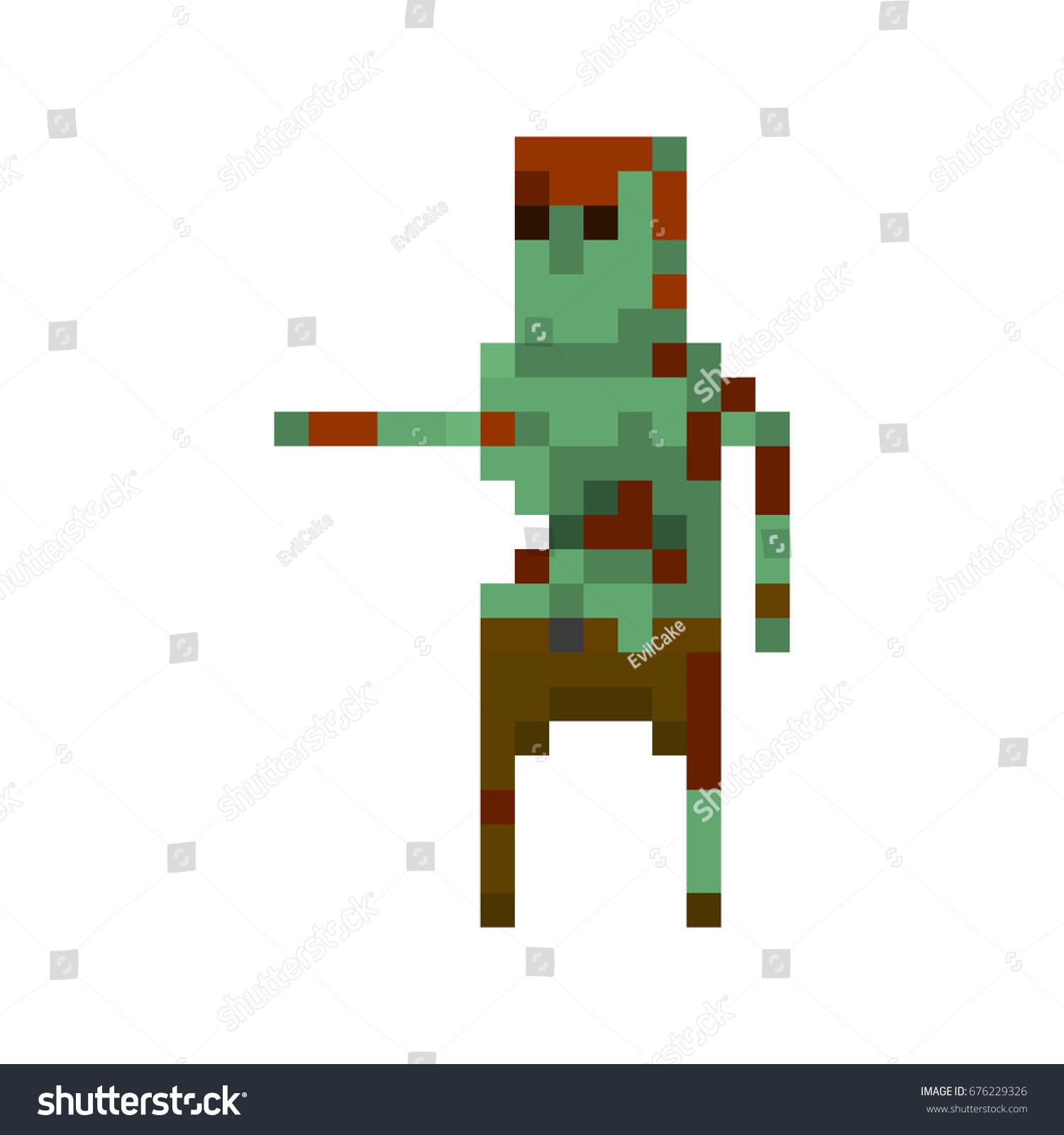 Pixel Zombie Weapons Games Applications Stock Vector
