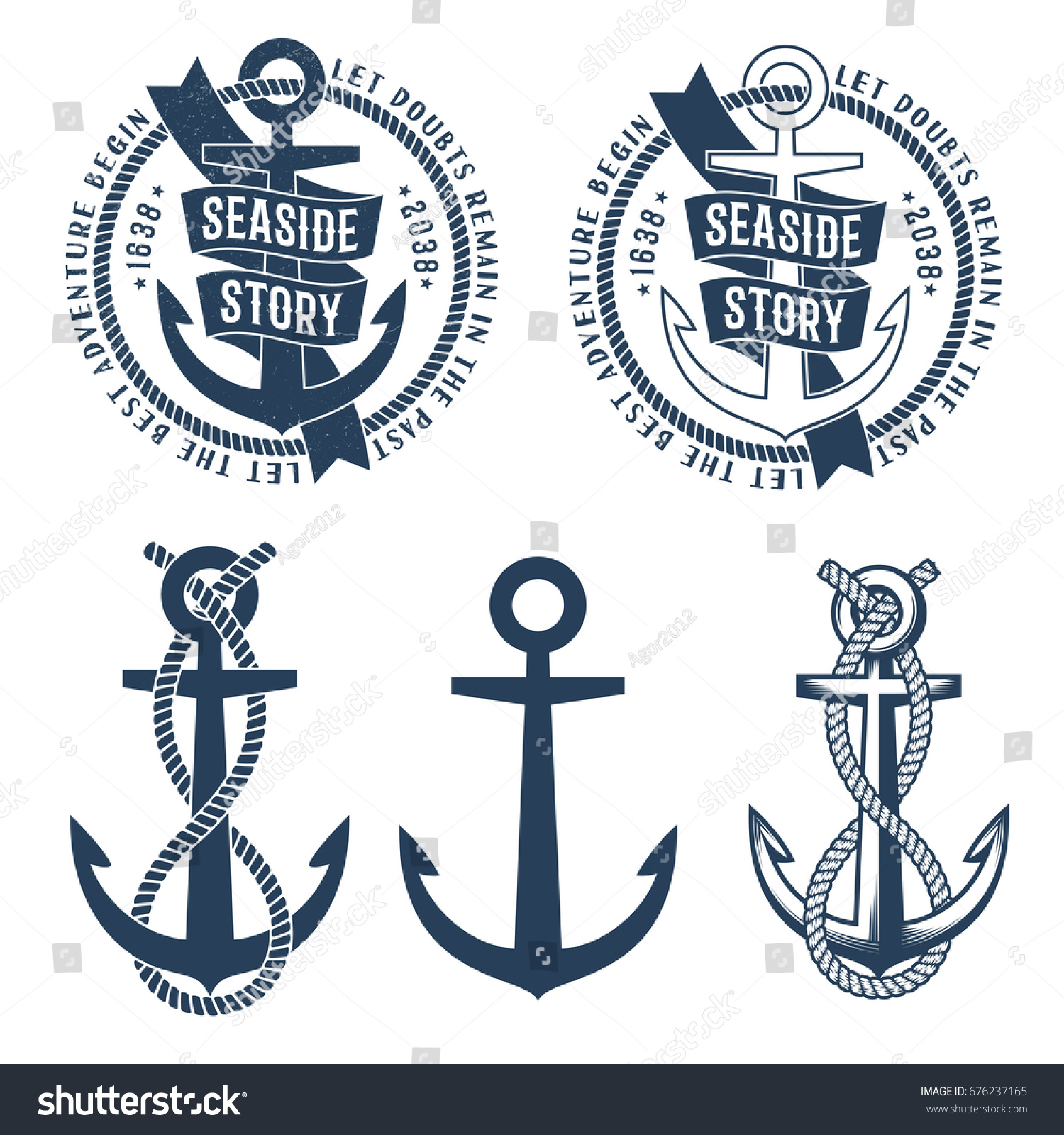 Anchor Tattoo Logos Ribbon Rope Seaside Stock Vector Royalty Free