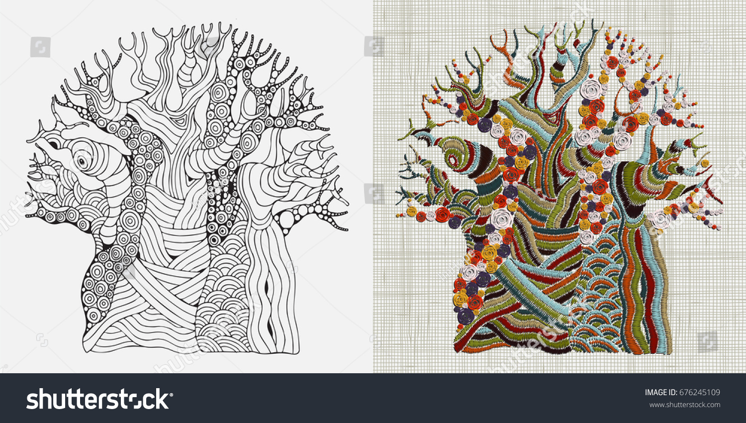 Embroidery pattern hand stitched embroidered baobab stock vector embroidery pattern hand stitched embroidered baobab tree african tree ethnic wall art embroidery bankloansurffo Choice Image