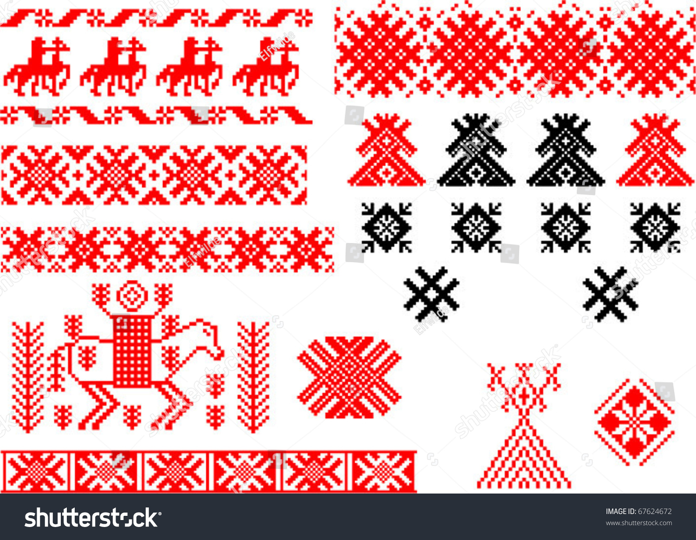 Belorussian Weaving Patterns Symbols Wealth Stripes Stock Vector