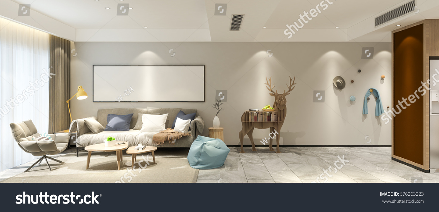 Modern living room sofa set with picture frame on wall elevation 3d render