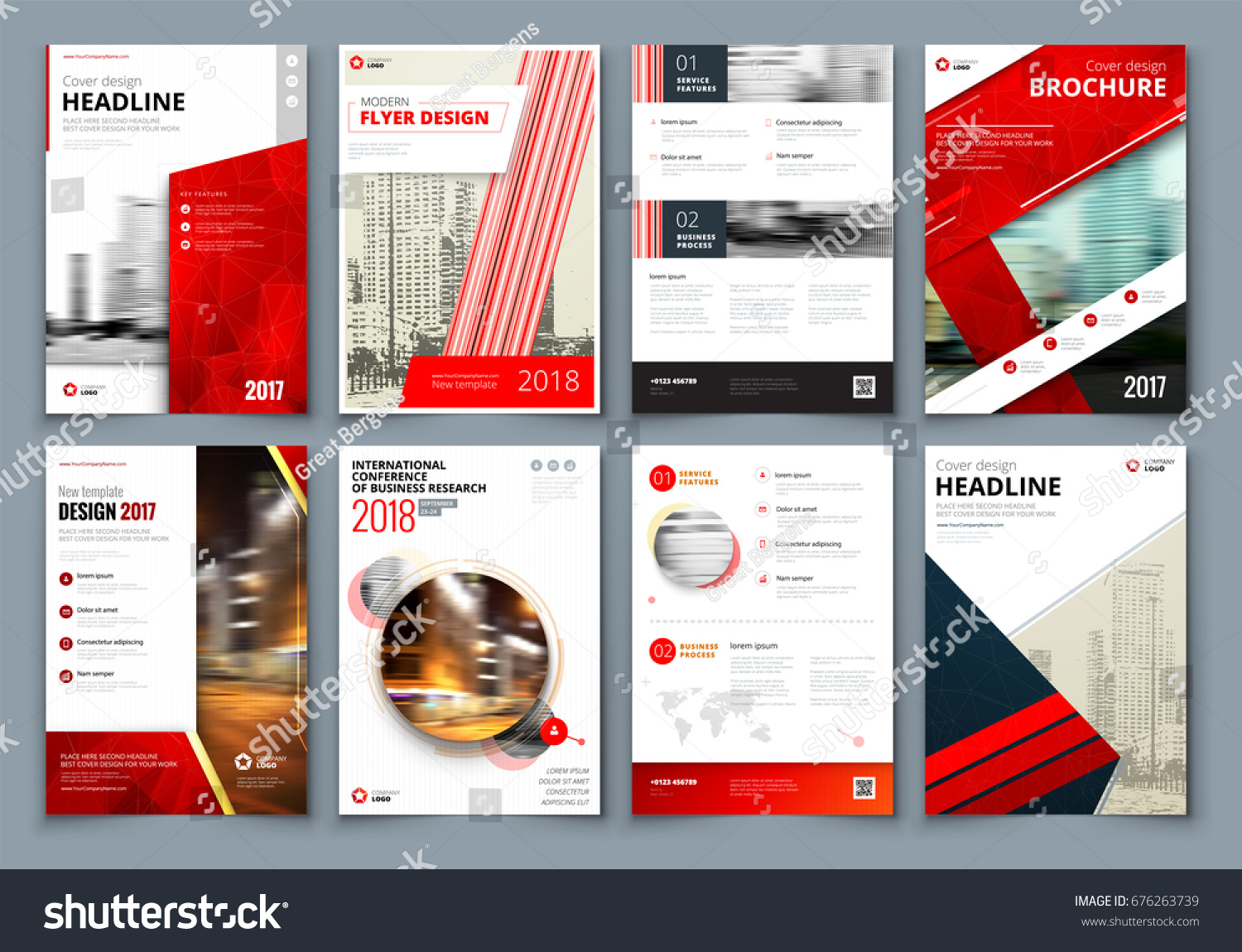 Brochure design red corporate business template stock vector red corporate business template for brochure report catalog magazine cheaphphosting Images