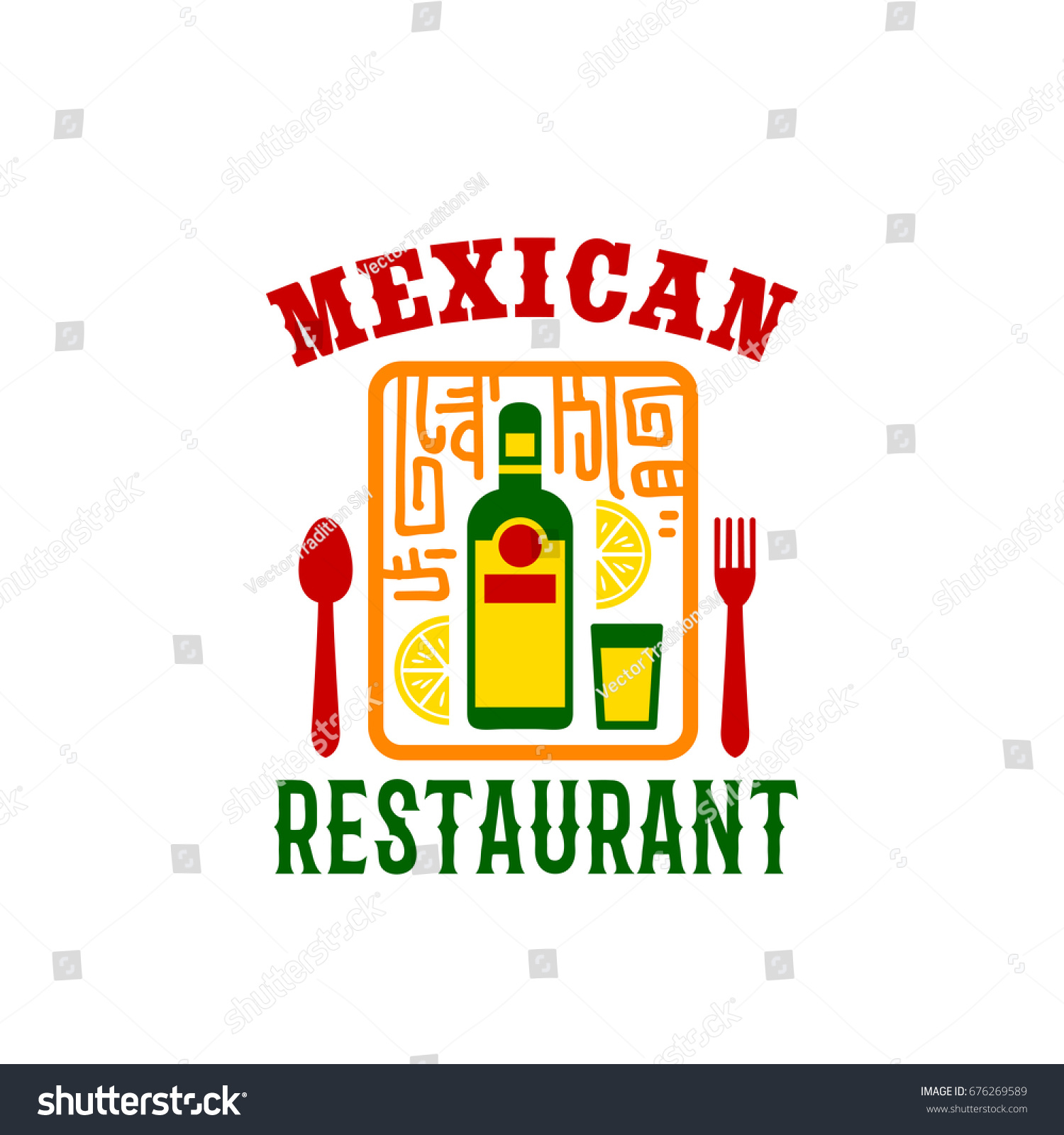 Mexican Restaurant Icon Tequila Bottle Lime Stock Vector Royalty